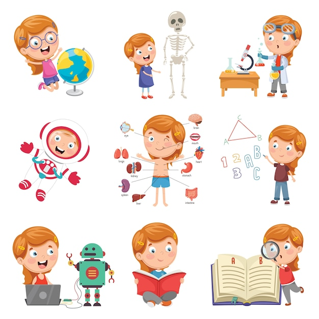 Vector illustration of little girl studying science Premium Vector