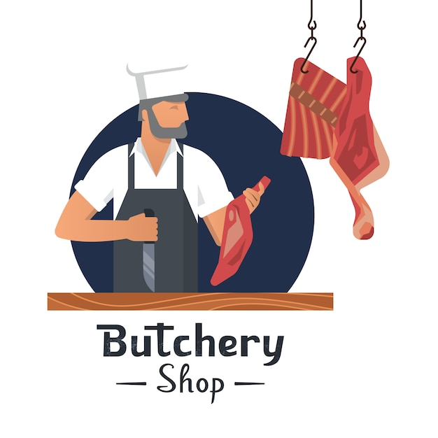 Vector illustration logo for a butcher shop with a bearded butchers at work. Premium Vector