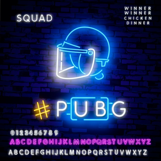 Vector illustration logo and text winner winner chicken dinner. winning pubg text Premium Vector