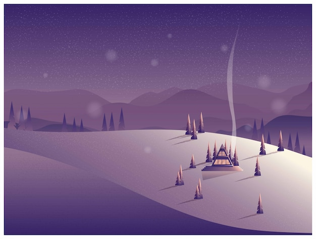 Vector illustration of a lonely cabin in the mountain in winter. Premium Vector