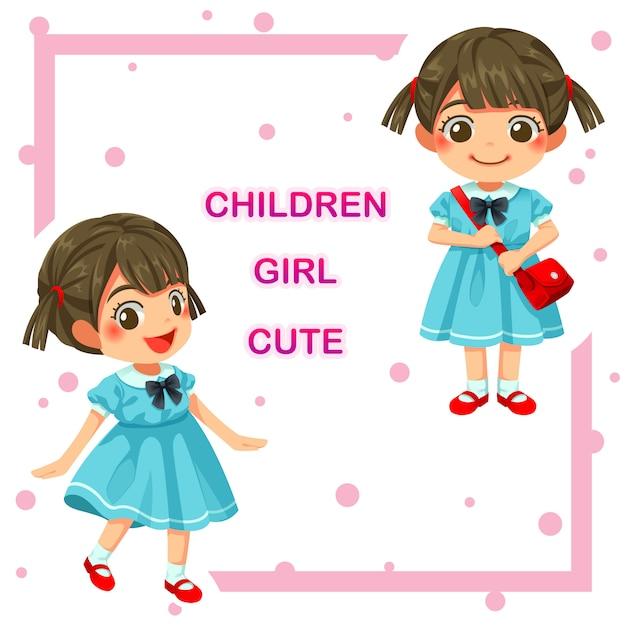 Vector illustration of lovely kindergarten girl children Premium Vector