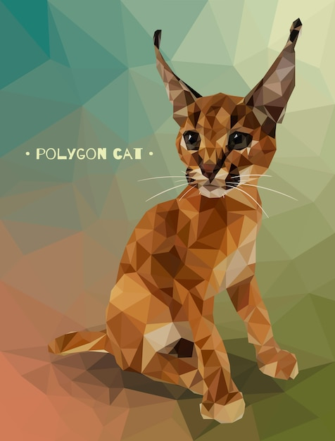 Vector illustration in low polygon style. kitten caracal. Premium Vector