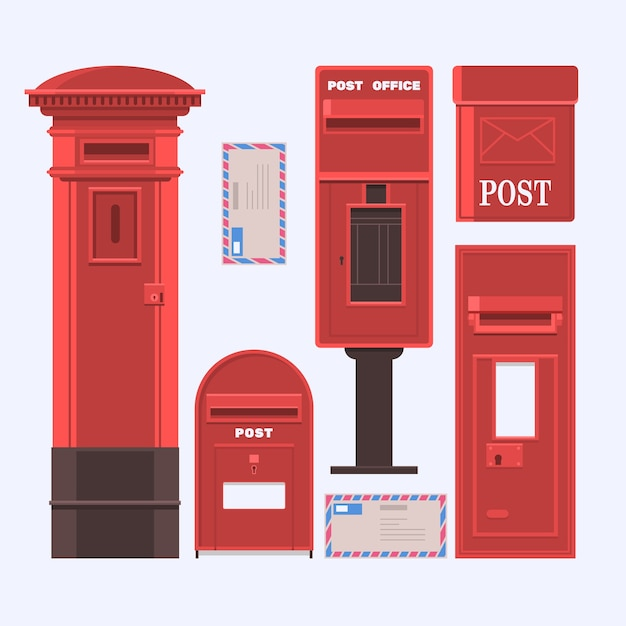 Vector Illustration Of Mail Boxes Set Vintage English