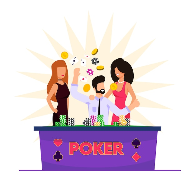 Vector illustration man playing cards in casino. Premium Vector