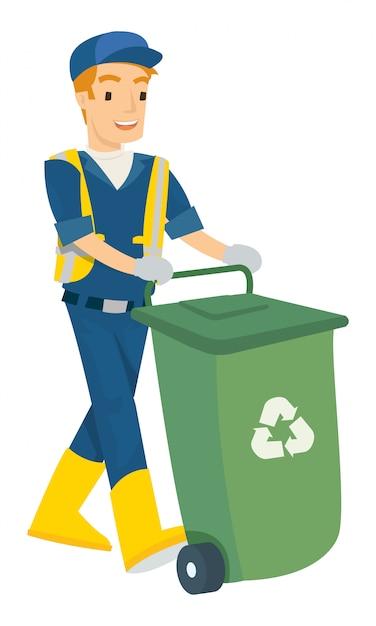Vector illustration of man push the trash can Premium Vector