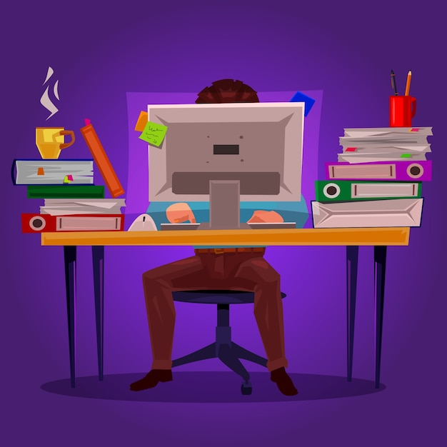 Vector illustration of a man working on the computer Free Vector