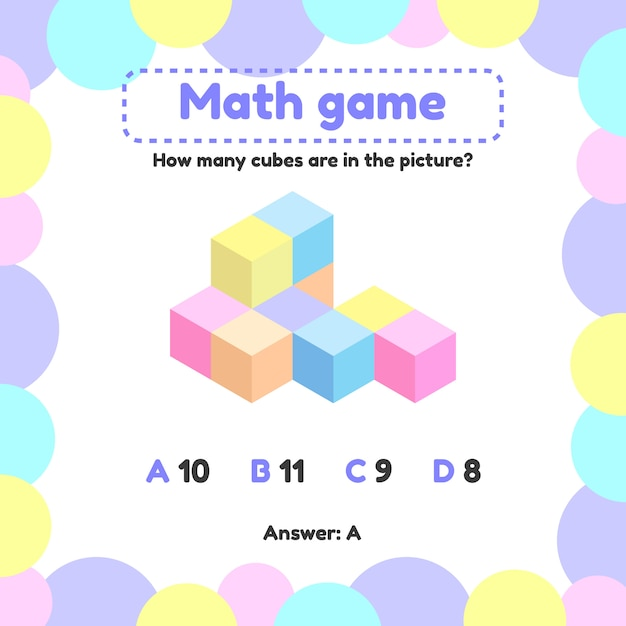 Vector illustration. mathematical logic game for preschool and school age children. how many cubes in the picture Premium Vector