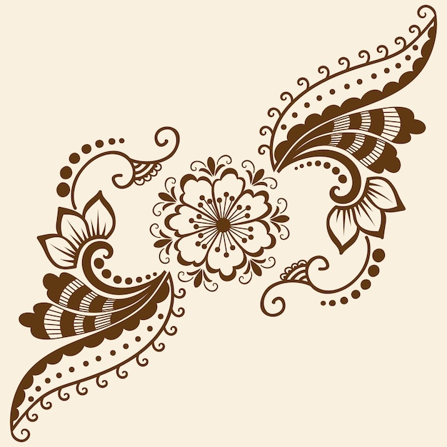 Vector Illustration Of Mehndi Ornament Traditional Indian Style