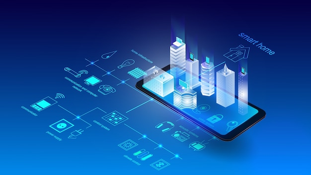 Vector illustration of a mobile phone with buildings and elements of a smart city. science Premium Vector