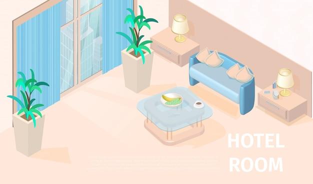 Vector illustration modern hotel room isometric Premium Vector