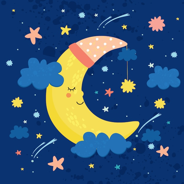 Vector illustration the moon in the sky is sleeping. good night Free Vector