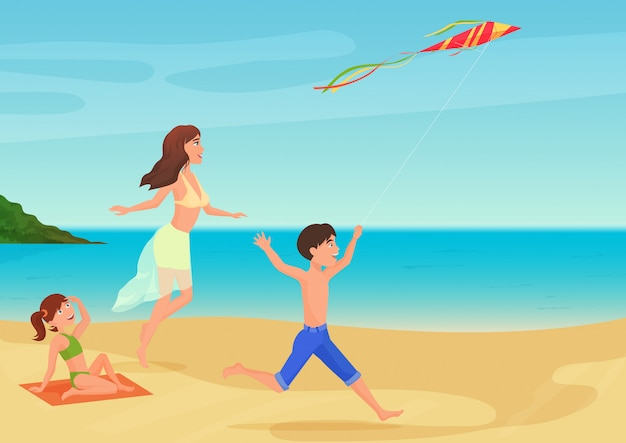 Vector illustration of mother having fun with children on beach and playing with kite. Premium Vector