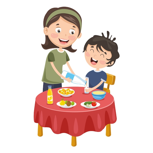 Vector illustration of mother prepare breakfast for kid Premium Vector