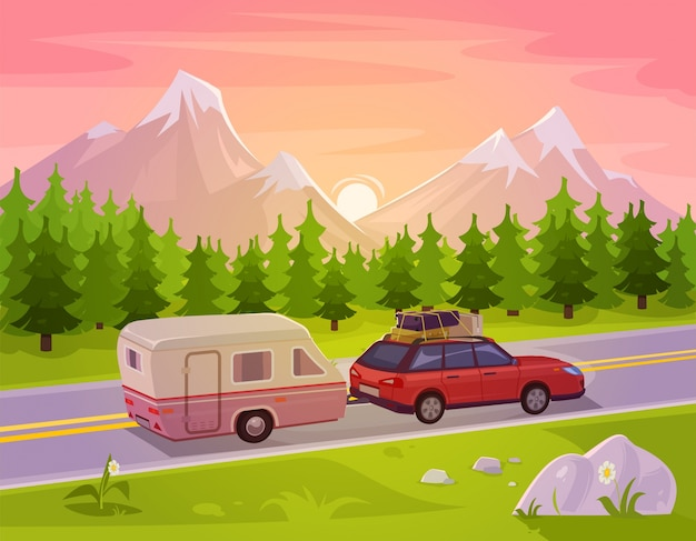 Vector illustration of a mountain landscape Free Vector