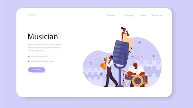 Vector illustration of musician playing music web banner or landing page Premium Vector