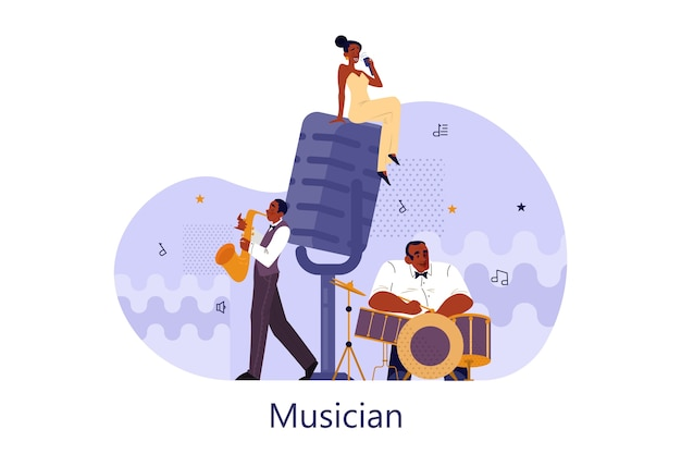 Vector illustration of musician playing music. woman holding an microphone and sing. male performer standing with saxophone and drums and performing. jazz rock music band festival. Premium Vector