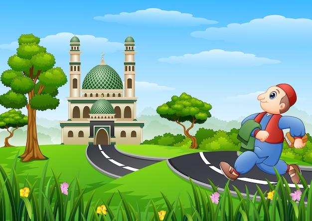 Vector illustration of  muslim kid cartoon going to mosque Premium Vector