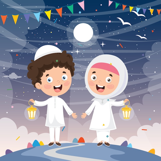 Vector illustration of muslim kids celebrating ramadan Premium Vector