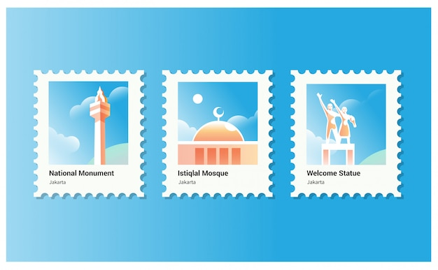 Vector illustration for national monumen and istiqlal mosque in jakarta good for tourism Premium Vector