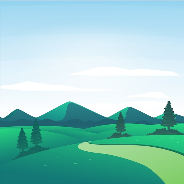 Vector Illustration Of Nature Landscape On A Sunny Day In