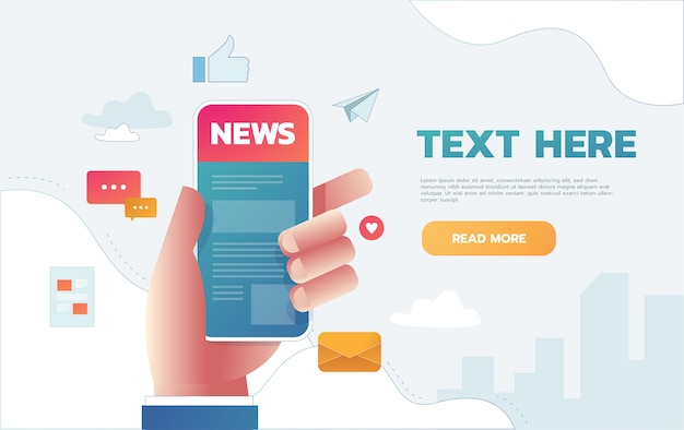 Vector illustration of news app on smartphone screen. online reading news on smartphone Free Vector