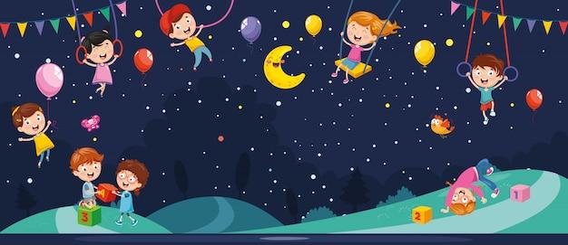Vector illustration of night scene Premium Vector