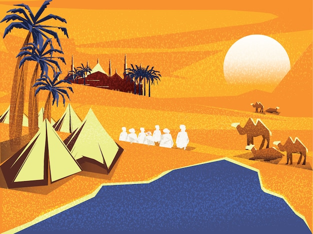 Vector illustration of oasis in arabian desert.bedouin or travelers islamic in desert prays to god in ramadan Premium Vector