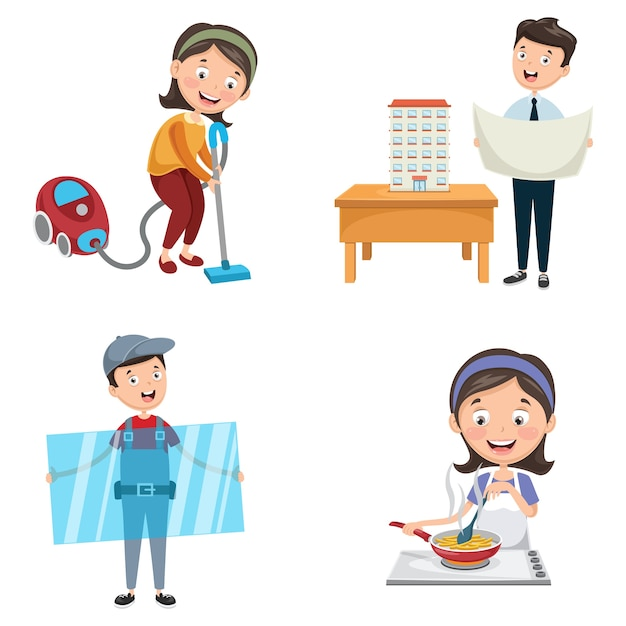 Vector illustration of occupations Premium Vector