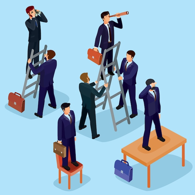 Vector illustration of 3D flat isometric\ people. The concept of a business leader, lead manager, CEO.
