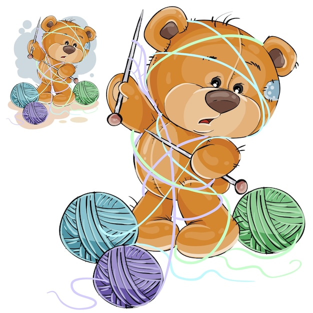 Vector illustration of a brown teddy bear holding a knitting needle in its paw and tangled in threads Free Vector