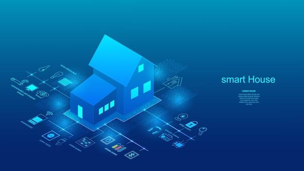 Векторная иллюстрация здания с элементами системы умный дом. наука, футуристический Premium векторы