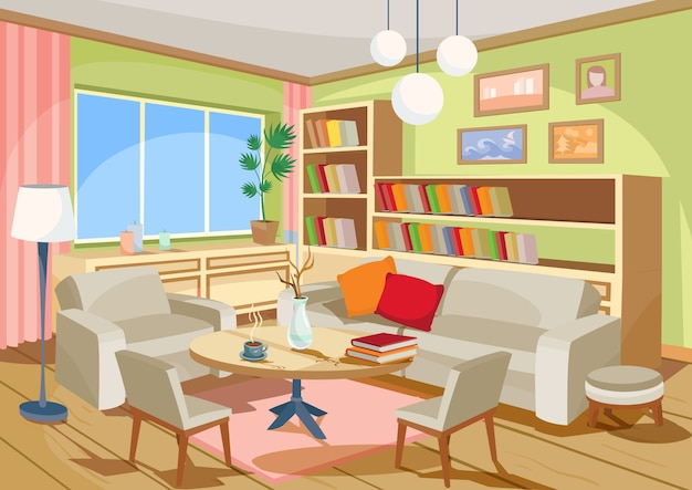 Vector illustration of a cozy cartoon interior of a home for Room design vector