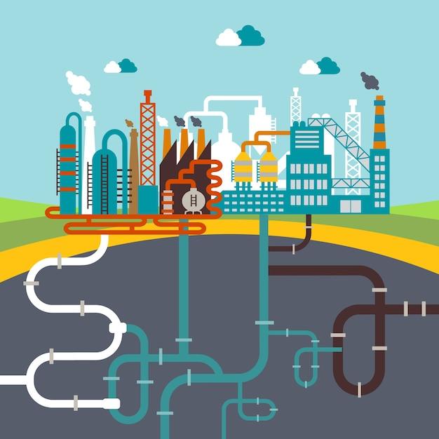 Векторная иллюстрация завода по производству продукции или нефтеперерабатывающего завода по переработке природных ресурсов с сетью прикрепленных труб Бесплатные векторы