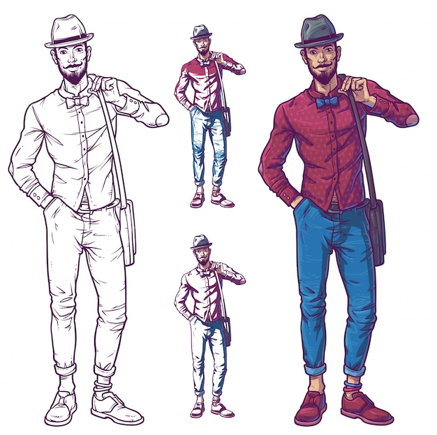 Vector illustration of a fashionable guy Free Vector