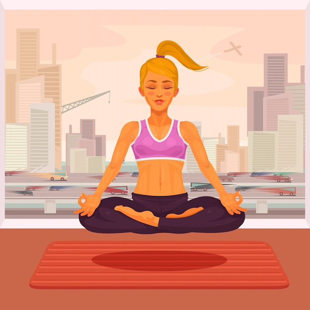 Vector illustration of a girl yoga in the lotus\ position