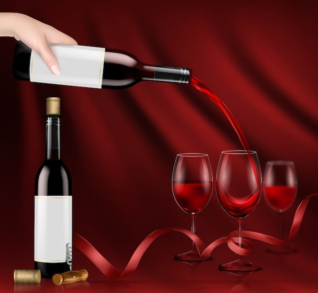 Vector illustration of a hand holding a glass\ wine bottle and pouring red wine into a glasses