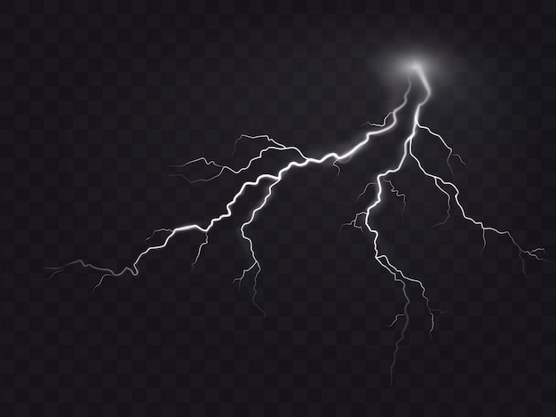 Vector Illustration Of A Realistic Style Bright Glowing Lightning Isolated On Dark Natural