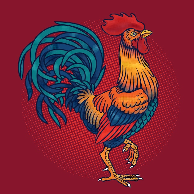 Vector illustration of a rooster Free Vector
