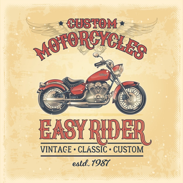 Векторная иллюстрация старинного плаката с пользовательским мотоциклом Бесплатные векторы