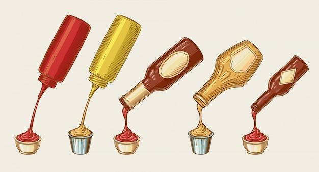 Векторная иллюстрация стиля гравюры различных соусов выливают из бутылок в миски Бесплатные векторы