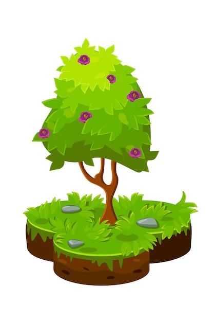 等尺性の漫画の木と土壌のプロットのベクトルイラスト。 Premiumベクター