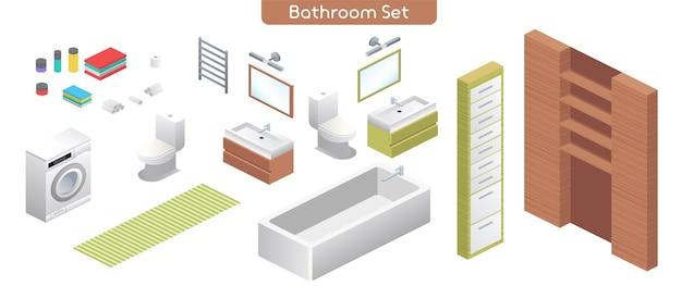 Векторная иллюстрация ванной комнаты современный интерьер набор мебели. сантехника в ванную комнату. изометрический вид на ванну, стиральную машину, унитаз, зеркала, полки, полотенца, изолированные предметы домашнего декора Premium векторы