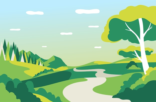 道路、木々、青空の美しい風景のベクトルイラスト Premiumベクター