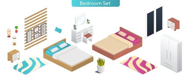 寝室のモダンなインテリア家具セットのベクトルイラスト。ダブルベッド、ワードローブ、ベッドサイドテーブル、ランプ、化粧台、窓、鉢植え、絵画、家の装飾の孤立したオブジェクトの等角図 Premiumベクター