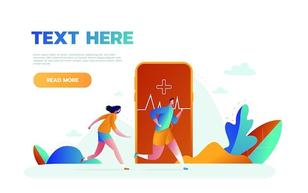 Векторная иллюстрация большого смартфона с приложением для отслеживания фитнес-активности для тренировок, бега и крошечных людей, занимающихся спортом Premium векторы