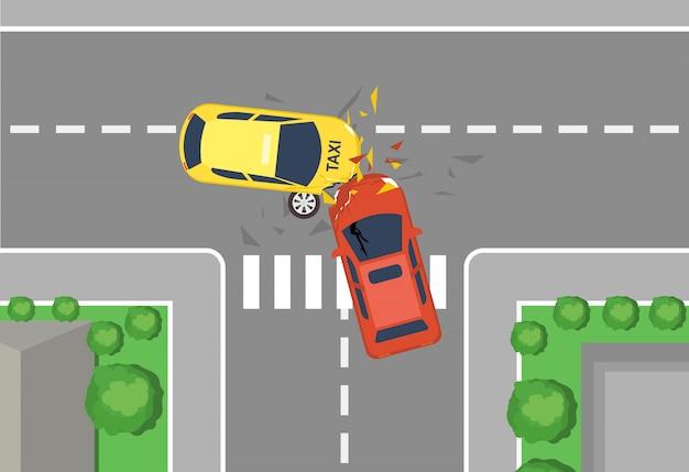 車の交通事故、平面図のベクトルイラスト。フラットな漫画スタイルの自動車事故の概念、黄色と赤の車の大破。 Premiumベクター