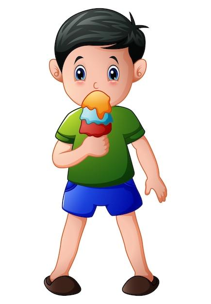 Векторная иллюстрация мультфильм мальчик есть мороженое Premium векторы