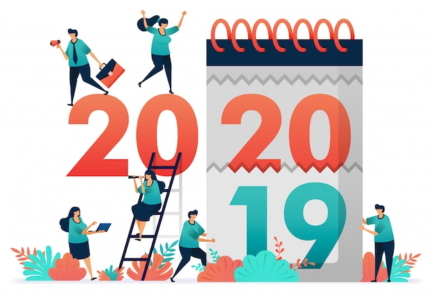 Векторная иллюстрация изменения рабочих лет с 2019 по 2020 год. Premium векторы