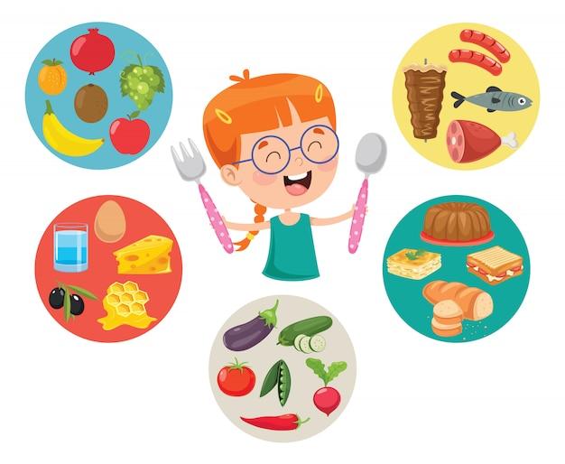 Векторная иллюстрация концепции детского питания Premium векторы
