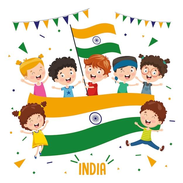 インドの旗を持っている子供たちのベクトル図 Premiumベクター
